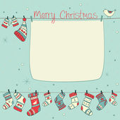 Christmas card with birds, socks, mittens and hats on cyan backg — Stockvector