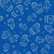 Stok Vektör: Winter seamless pattern with mittens on blue background