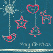 Royalty-Free Stock Imagen vectorial: Greeting card with Christmas tree decoration on turquoise backgr