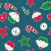Christmas gingerbread cookies green and red seamless pattern — Vector de stock