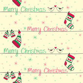 Christmas seamless pattern with red green birds socks mittens an — Vector de stock