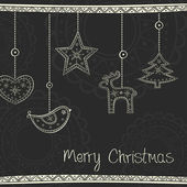 Greeting card with Christmas tree decoration on black background — Stockvector