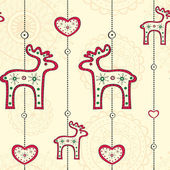 Seamless pattern with ethnic Christmas decoration with deer — Stockvector