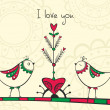 Card with birds and love Tree - Stok Vektör