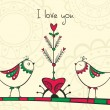 Card with birds and love Tree — Vettoriali Stock