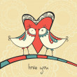 Card with birds in love — Imagen vectorial