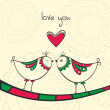 Card with kissing birds in love — Imagen vectorial