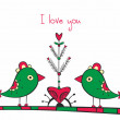 Card with birds and love Tree on white background - Stok Vektör