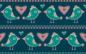 Seamless pattern with birds and hearts — Stock Vector