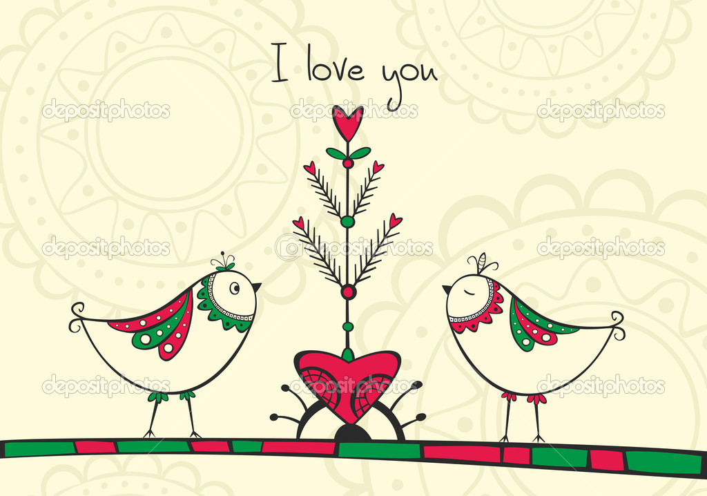 Card with ethnic birds and love Tree on the yellow background  Image vectorielle #19145805