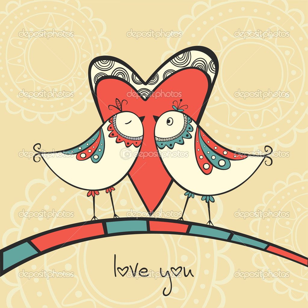 Card with ethnic birds in love — Stock Vector #19145813
