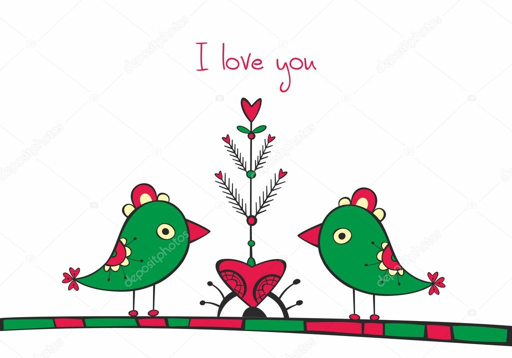 Card with ethnic birds and love Tree on white background — Stock Vector #19145821