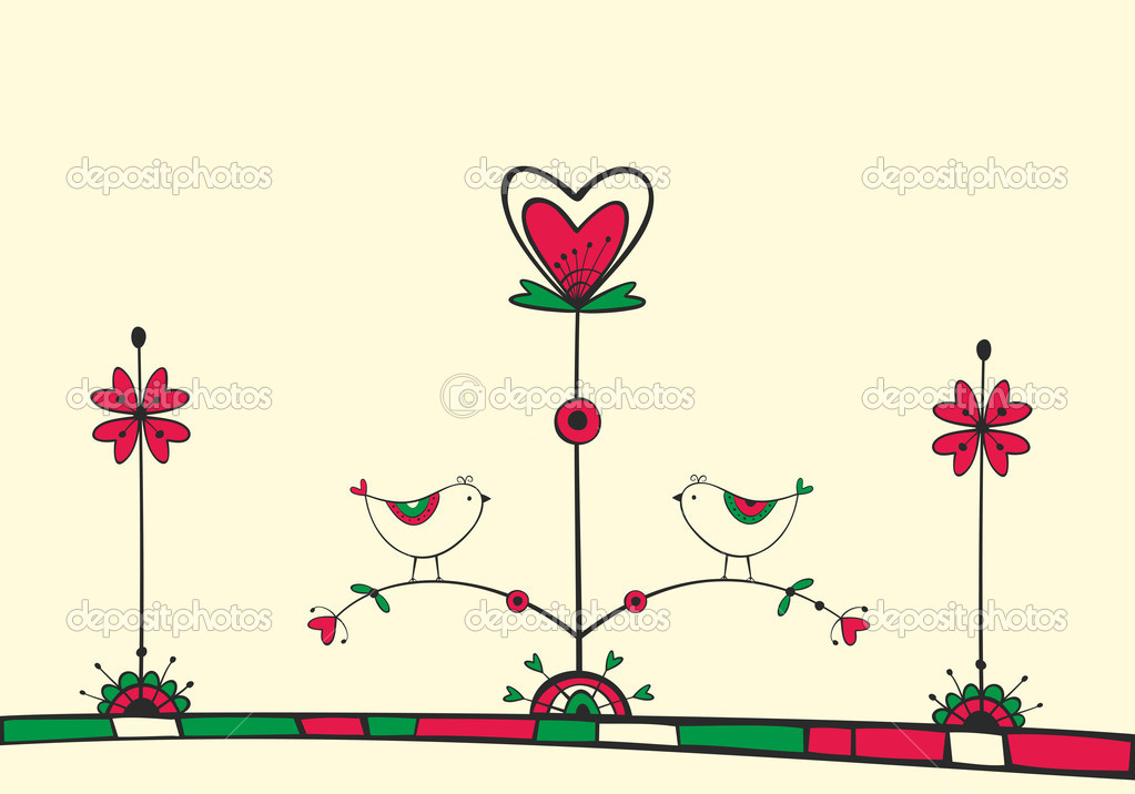 Card with ethnic birds on the love Tree — Stock Vector #19145823