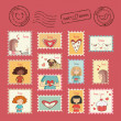 Set of post stamps - Stock Vector