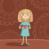 Blue-eyed blonde girl — Stock Vector