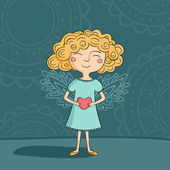 Blonde girl angel — Stock Vector