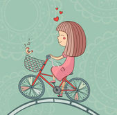 Enamored girl on bicycle — Stockvector