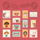 Set of post stamps — Vector de stock