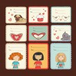 Gift tags with love on brown background - Stock Vector