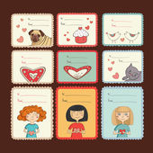 Gift tags with love on brown background — Stockvector