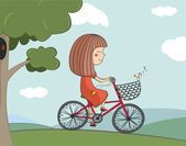 Illustration av flicka Rider en cykel — Stockvektor
