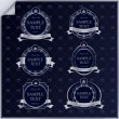 Vector set of vintage dark blue frame labels with silver element — Stok Vektör