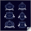 Vector set of vintage dark blue frame labels with silver element — Stock Vector