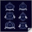Vector set of vintage dark blue frame labels with silver element - Stock Vector