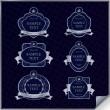 Vector set of vintage dark blue frame labels with silver element — Stock Vector