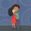 Illustration of multicultural boy and girl kissing on the cheek — Stock Vector #22888944