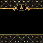 Vintage black background with frame of golden elements and crown — Stockvector