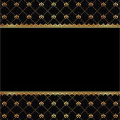 Vintage black background with frame of golden elements for text — Stock Vector