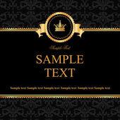 Fundo de damasco preto vintage com moldura de elementos dourados — Vetor de Stock