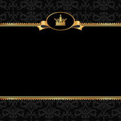 Vintage black damask background with frame of golden elements an — Stock Vector