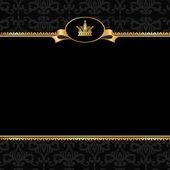 Vintage black damask background with frame of golden elements an — Stock Vector