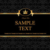 Vintage black damask background with frame of golden elements an — Vector de stock