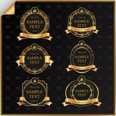 Vintage vector set of black frame label with gold elements — Stockvektor