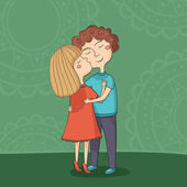 Illustration of multicultural boy and girl kissing on the cheek — Vector de stock