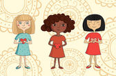 Illustration of multicultural girls with hearts — Stockvector