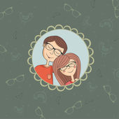 Enamored couple of boy and girl in eyeglasses — Stock Vector