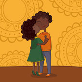 Illustration of multicultural boy and girl kissing on the cheek — Stock Vector