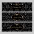Labels with gold elements on damask background - Vettoriali Stock