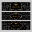 Labels with gold elements on damask background - Векторная иллюстрация