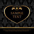 Golden label heart on damask black background — Stockvectorbeeld