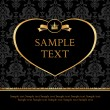 Golden label heart on damask black background — 图库矢量图片
