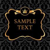 Golden label on damask black background — Stock Vector