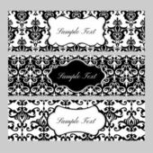 Labels on damask background — Stock Vector