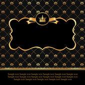 Gouden label op damast zwarte achtergrond — Stockvector