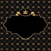 Moldura dourada sobre fundo preto do damasco — Vetor de Stock
