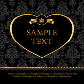 Golden label heart on damask black background — Stockvector